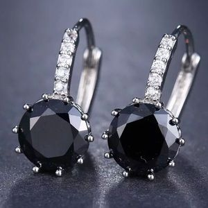 NEW Silver Charm Drop Round Diamond Earrings
